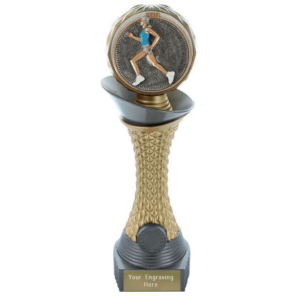 "Female Running Trophy Heavyweight Hemisphere Tower Silver & Gold 25.5cm (10"")"