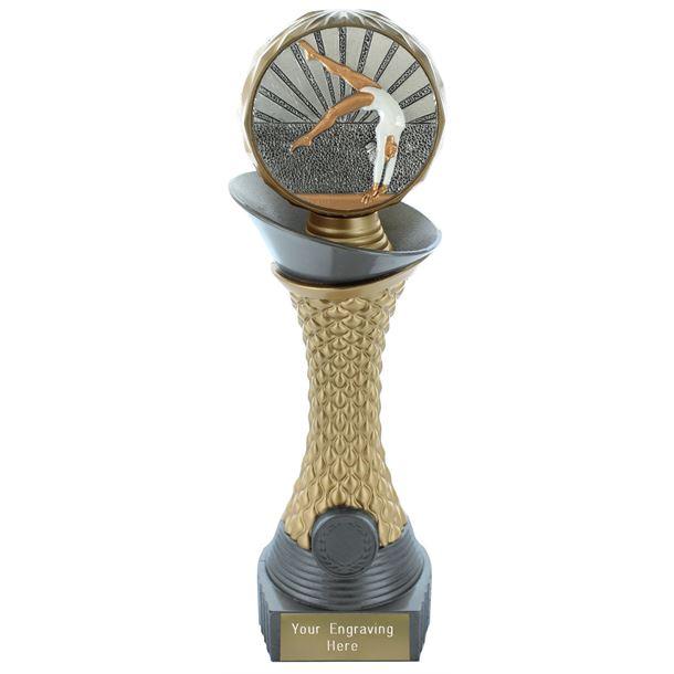 "Female Gymnastics Trophy Heavyweight Hemisphere Tower Silver & Gold 23cm (9"")"