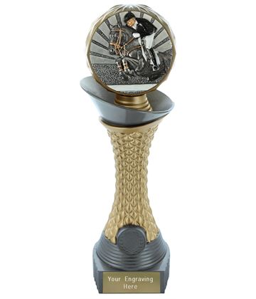 "Show Jumping Trophy Heavyweight Hemisphere Tower Silver & Gold 23cm (9"")"
