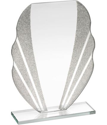 "Jade Glass Plaque Award With Silver Glitter Detail & Curved Edges 16.5cm (6.5"")"