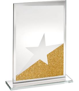 """Rectangle Jade Glass Star Plaque With Gold Glitter Detail 18.5cm (7.25"""")"""