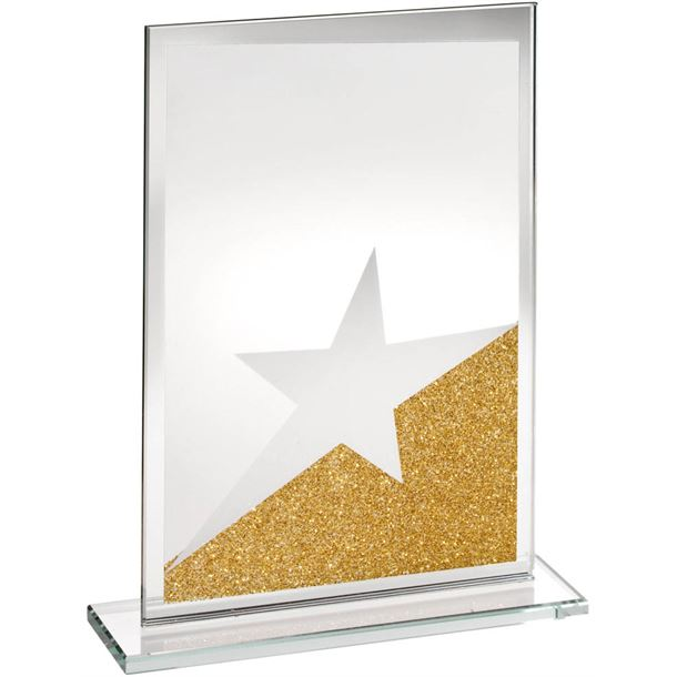 "Rectangle Jade Glass Star Plaque With Gold Glitter Detail 20.5cm (8"")"