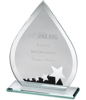 "Jade Glass Teardrop With Silver Black Star Design 18.5cm (7.25"")"