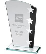 "Jade Glass Plaque With Silver Black Star Design 16.5cm (6.5"")"