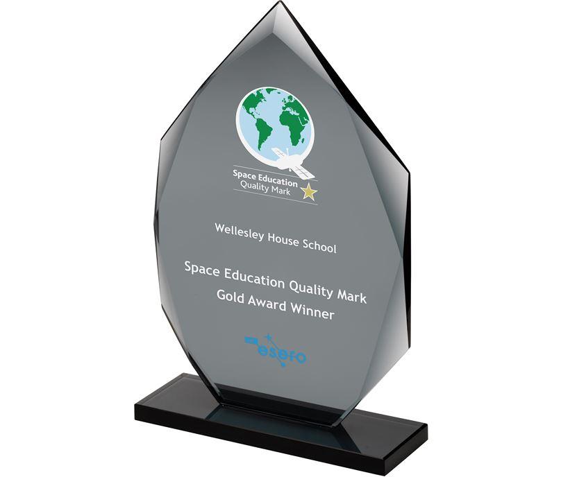 """Smoked Diamond Plaque Glass Award 20cm (8"""")"""