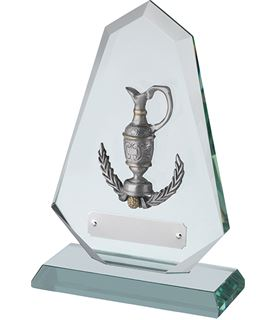 "Jade Glass Golf Plaque with Pewter Claret Jug 18cm (7"")"