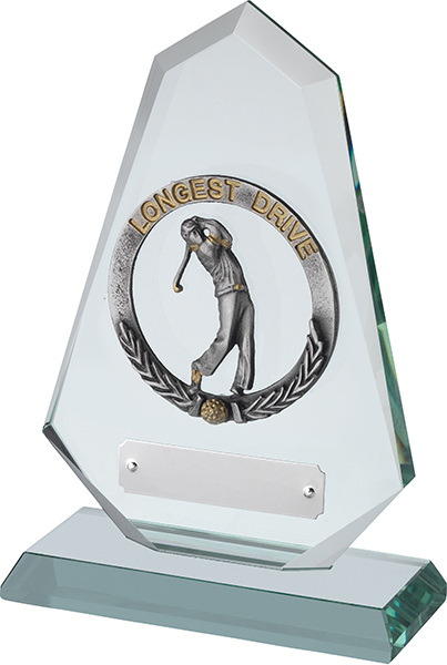"Jade Glass Golf Plaque with Pewter Longest Drive 18cm (7"")"