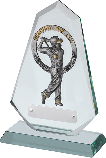 "Jade Glass Golf Plaque with Pewter Nearest The Pin 20.5cm (8"")"