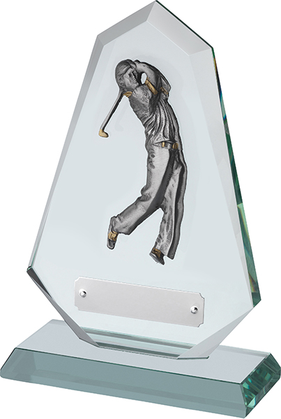"Jade Glass Golf Plaque with Pewter Male Golfer Figure 20.5cm (8"")"