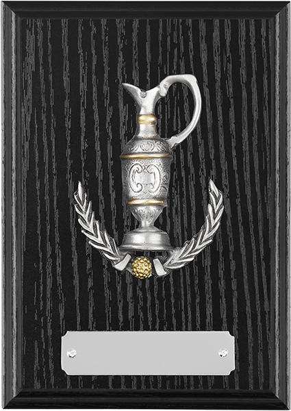 "Black Ash Finished Claret Jug Golf Plaque 15cm (6"")"