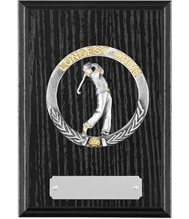 "Black Ash Finished Longest Drive Golf Plaque 15cm (6"")"