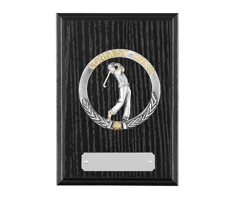 """Black Ash Finished Longest Drive Golf Plaque 15cm (6"""")"""