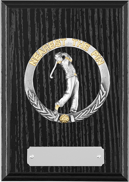 "Black Ash Finished Nearest The Pin Golf Plaque 15cm (6"")"