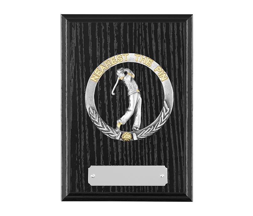 """Black Ash Finished Nearest The Pin Golf Plaque 15cm (6"""")"""