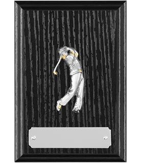 "Black Ash Finished Golf Plaque with Pewter Golfer in Action 12.5cm (5"")"