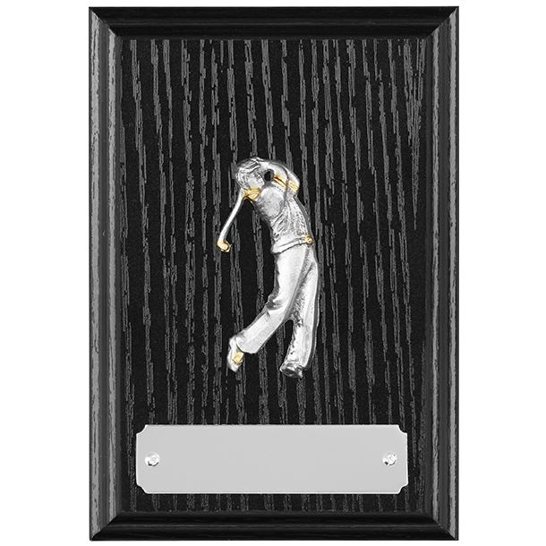 """Black Ash Finished Golf Plaque with Pewter Golfer in Action 12.5cm (5"""")"""