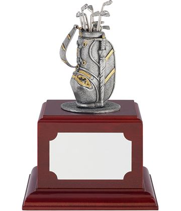 "Pewter Golf Bag Trophy with Individual Golf Clubs on Rosewood Base 11.5cm (4.5"")"