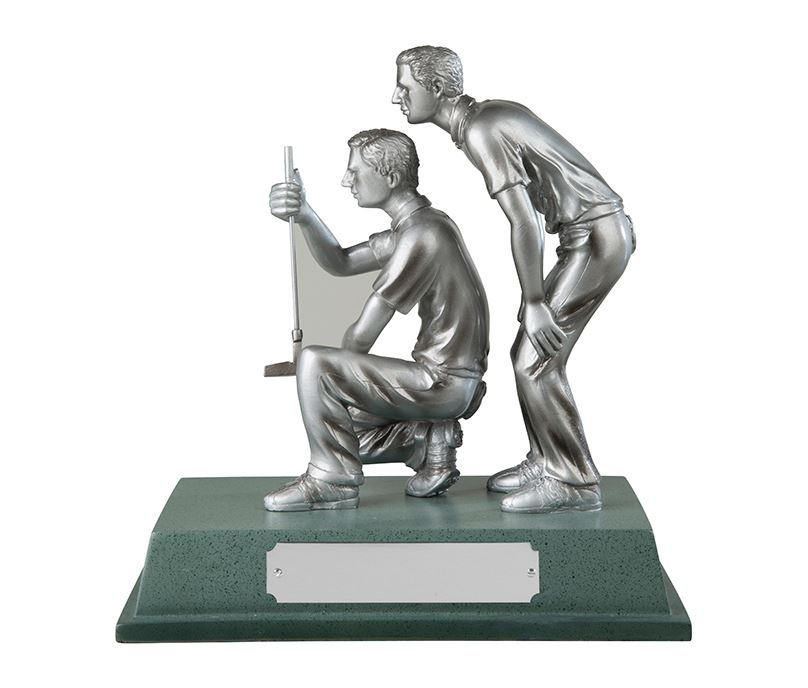 """Silver Finished Resin Golfers Trophy on Large Base 15cm (6"""")"""