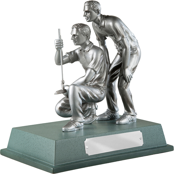 "Silver Finished Resin Golfers Trophy on Large Base 20.5cm (8"")"