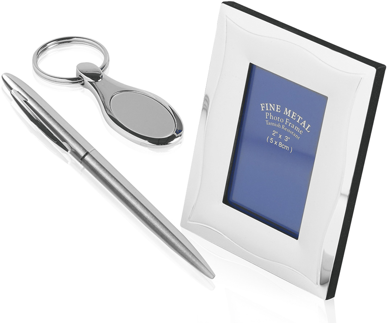 Ball Point Pen, Photo Frame & Keyring Gift Set