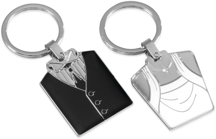His 'n' Hers Dress & Suit Patterned Metal Keyring Set