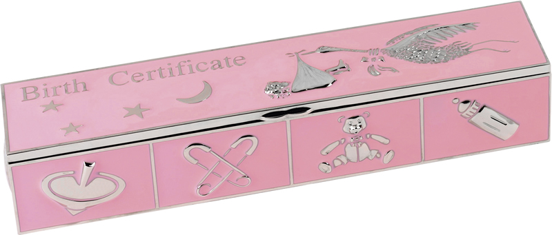 Pink Enamelled Metal Birth Certificate Holder 25cm x 5cm