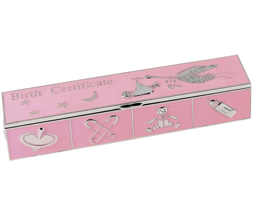Pink Enamelled Metal Birth Certificate Holder 25cm x 5cm