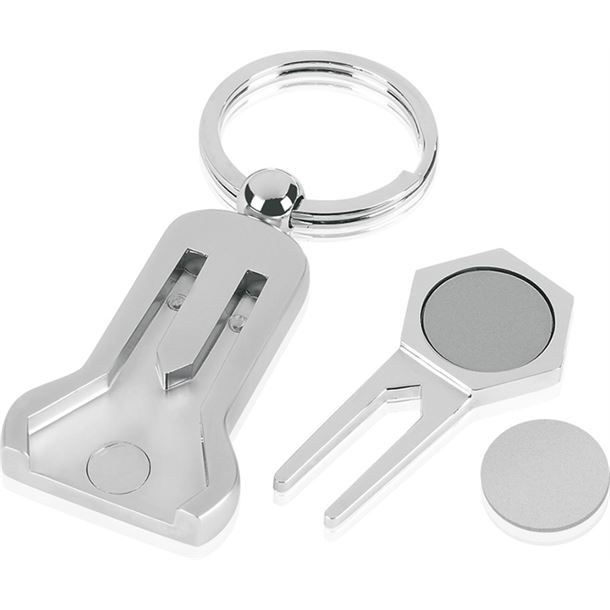 """Pitch Repairer and Magnetic Ball Marker Golf Keyring 9cm (3.5"""")"""