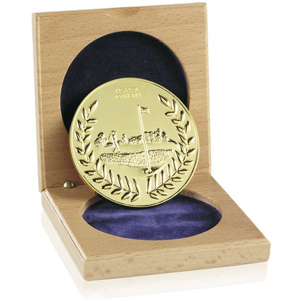 "Cased Gold Finish Nearest The Pin Medal 6.6cm (2.5"")"