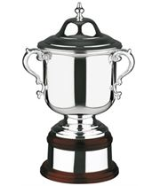 """Silver Plated League Cup on Mahogany Base 27.5cm (10.75"""")"""