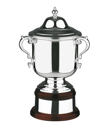 "Silver Plated League Cup on Mahogany Base 37.5cm (14.75"")"