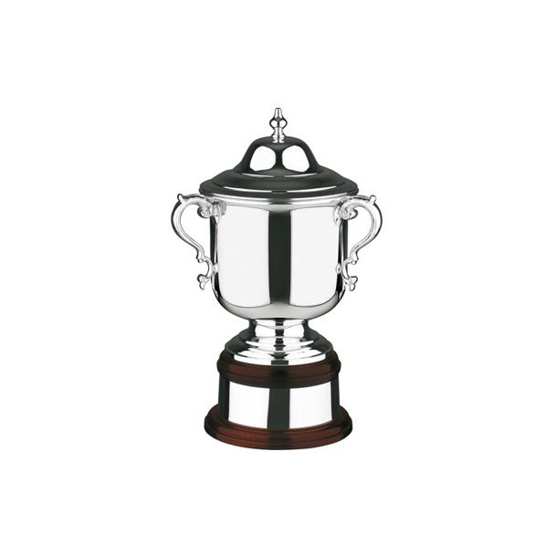 "Silver Plated League Cup on Mahogany Base 27.5cm (10.75"")"