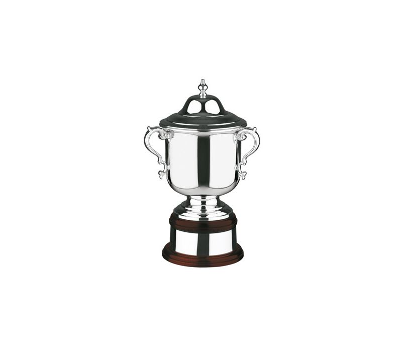 """Silver Plated League Cup on Mahogany Base 42.5cm (16.75"""")"""
