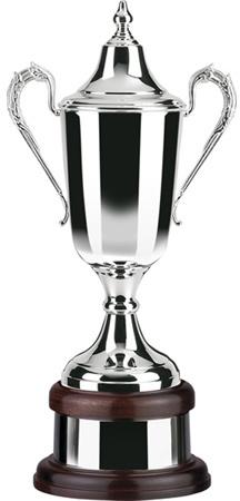 "Silver Plated Formula Cup on Mahogany Base 54.5cm (21.5"")"