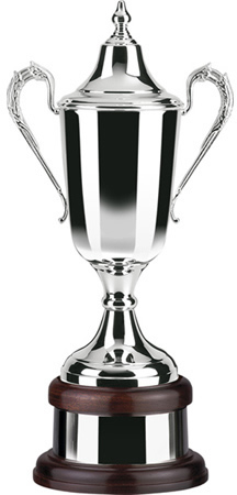 "Silver Plated Formula Cup on Mahogany Base 54.5cm (21.5"")"