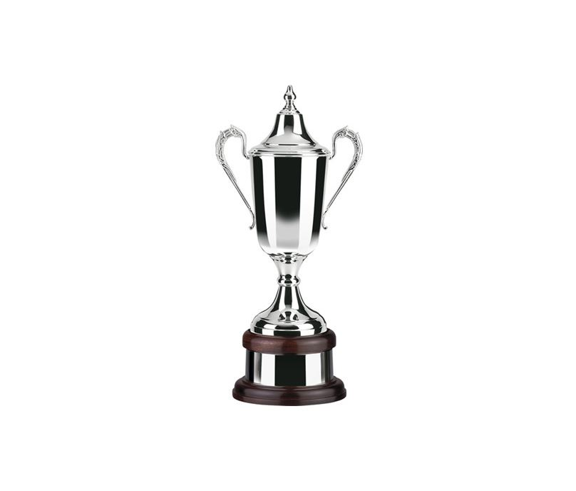 "Silver Plated Formula Cup on Mahogany Base 44.5cm (17.5"")"