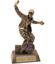 "Antique Gold Resin Male Street Dance Trophy 18.5cm (7.25"")"