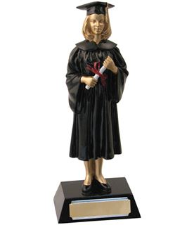 "Female Resin Graduation Achievement Trophy 23.5cm (9.25"")"