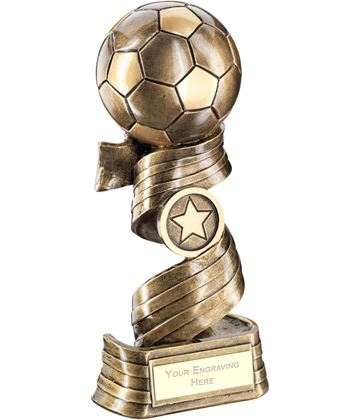 "Football On Swirled Ribbon Trophy 25cm (9.75"")"