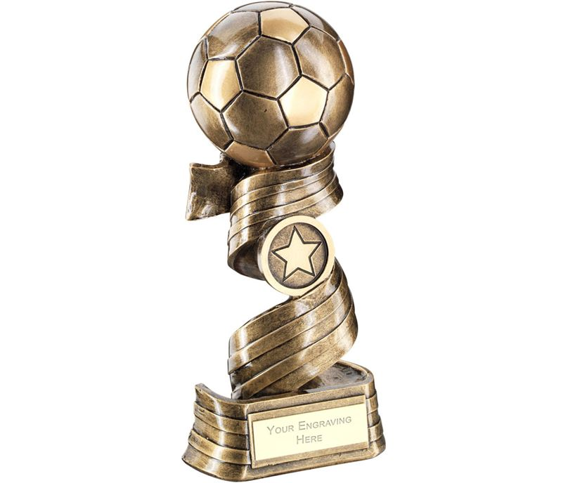 "Football On Swirled Ribbon Trophy 14.5cm (5.75"")"