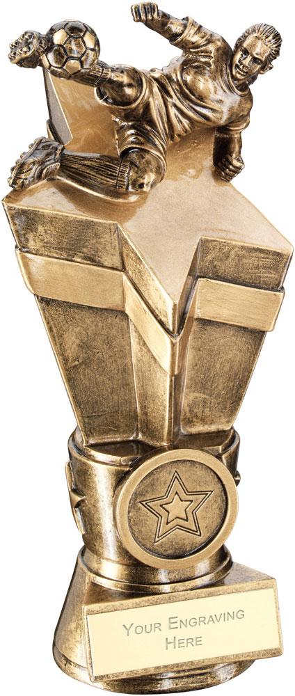 """Female Footballer On Star Column Trophy 26cm (10.25"""")"""
