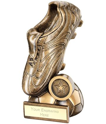 "Football Boot On Half-Ball Base Trophy 14cm (5.5"")"