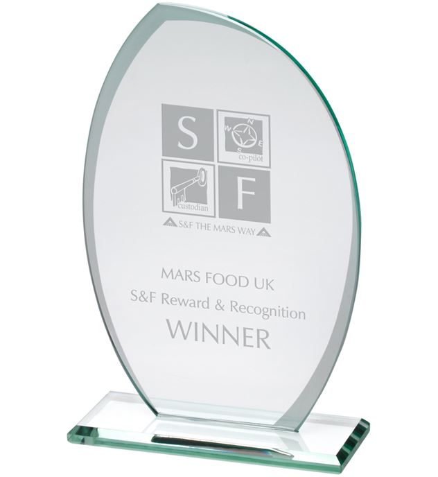 "Jade Glass Plaque With Frosted Sides 17cm (6.75"")"