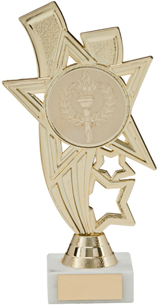 "Gold Star Riser Trophy on White Marble Base 13.5cm (5.25"")"