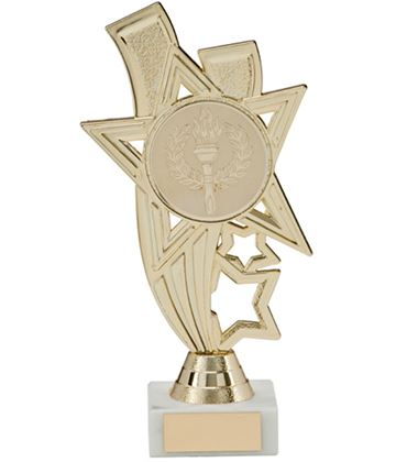"Gold Star Riser Trophy on White Marble Base 16cm (6.25"")"
