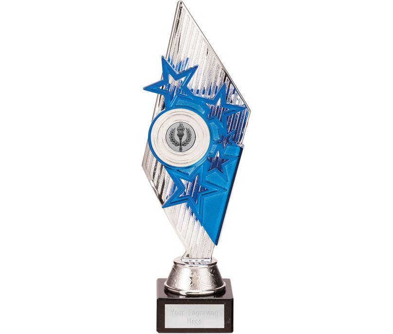Dance Pizzazz Trophy Silver & Blue 28cm