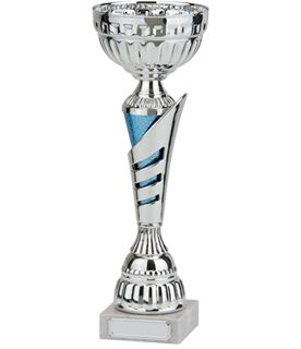 "Rio Vista Silver & Blue Metal Bowl Trophy Cup 32cm (12.5"")"