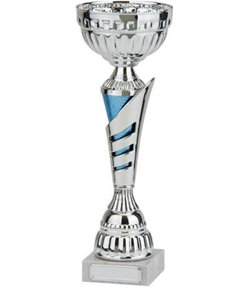"Rio Vista Silver & Blue Metal Bowl Trophy Cup 38cm (15"")"