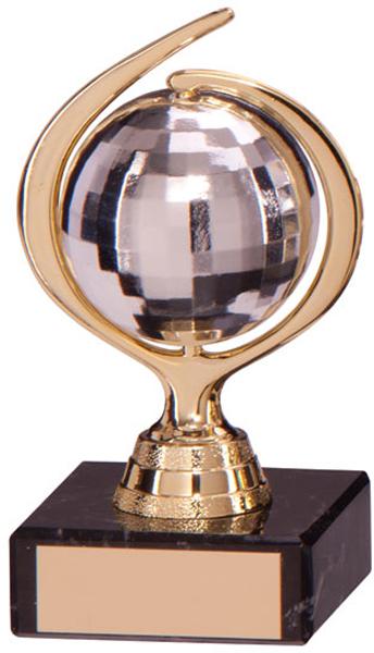 "Gold & Silver Plastic Glitterball Dance Trophy 11.5cm (4.5"")"