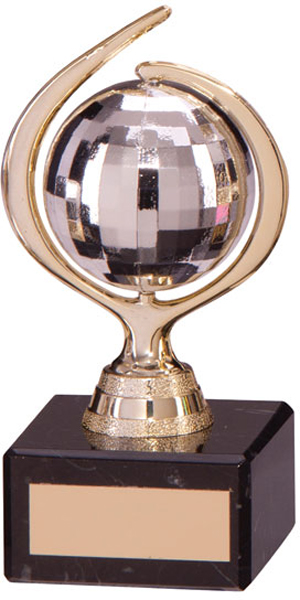 "Gold & Silver Plastic Glitterball Dance Trophy 12.5cm (5"")"